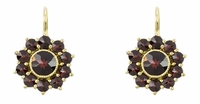 Bohemian Garnet Floral Drop Victorian Earrings in 14K Yellow Gold and Sterling Silver Vermeil
