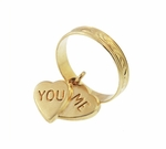 Vintage You and Me Moveable Sweet Hearts Charm in 14 Karat Yellow Gold