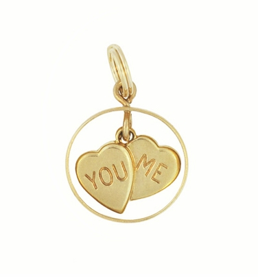 Vintage You and Me Moveable Sweet Hearts Charm in 14 Karat Yellow Gold - Item C648 - Image 1