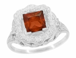Art Nouveau Almandine Square Garnet Ring in 14K White Gold - 1910 Vintage Design