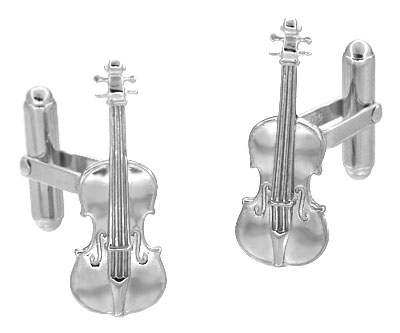 Violin Cufflinks in Sterling Silver