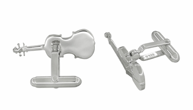 Violin Cufflinks in Sterling Silver - Item SCL247W - Image 1