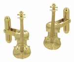 Violin Cufflinks in Sterling Silver with Yellow Gold Finish
