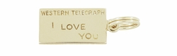 Western Telegraph I LOVE YOU Charm in 10K Yellow Gold | 1950s Vintage Love Pendant