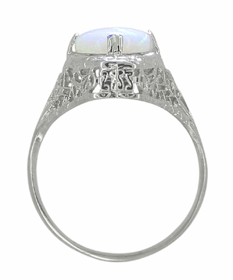 White Opal Filigree Ring in 14 Karat White Gold - Art Deco - Item R360 - Image 2