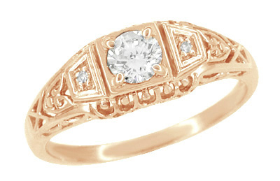 White Sapphire Art Deco Filigree Engagement Ring in 14 Karat Rose Gold