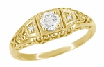 White Sapphire Art Deco Filigree Engagement Ring in 14 Karat Yellow Gold