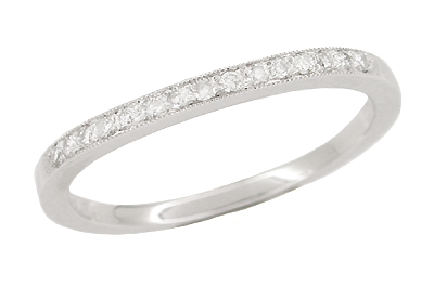 White Sapphire Curved Wedding Band in 14 Karat White Gold