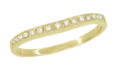White Sapphire Curved Wedding Band in 14 Karat Yellow Gold