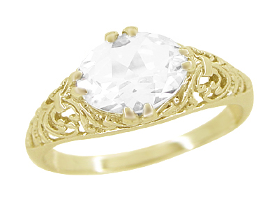 White Sapphire Edwardian Filigree Engagement Ring in 14 Karat Yellow Gold