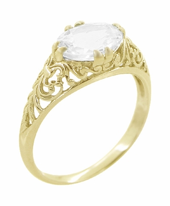 White Sapphire Edwardian Filigree Engagement Ring in 14 Karat Yellow Gold  - Item R799YWS - Image 1