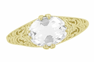 White Sapphire Edwardian Filigree Engagement Ring in 14 Karat Yellow Gold  - Item R799YWS - Image 3
