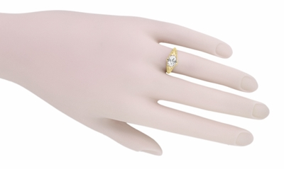 White Sapphire Edwardian Filigree Engagement Ring in 14 Karat Yellow Gold  - Item R799YWS - Image 5