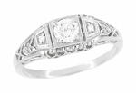 White Sapphire Filigree Art Deco Engagement Ring in 14 Karat White Gold