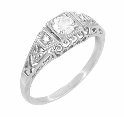 White Sapphire Filigree Art Deco Engagement Ring in 14 Karat White Gold - Item R228WS - Image 1