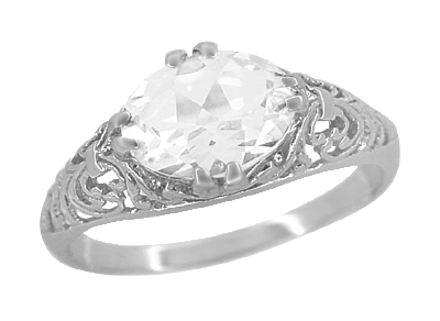 East West White Sapphire Filigree Edwardian Engagement Ring in 14K White Gold
