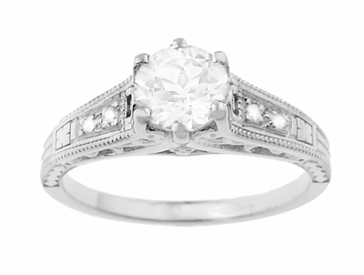 White Sapphire Filigree Engagement Ring in 14 Karat White Gold - Item R158WS - Image 3