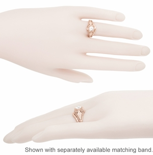 White Sapphire Filigree Scroll Dome Edwardian Engagement Ring in 14 Karat Rose Gold - Item R139RWS - Image 5