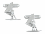 Wind Surfer Cufflinks in Sterling Silver