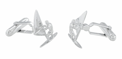 Wind Surfer Cufflinks in Sterling Silver - Item SCL211 - Image 1