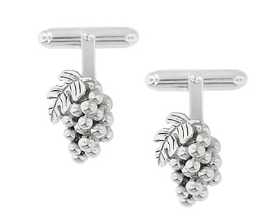 Wine Grapes Cufflinks in Sterling Silver