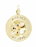 WITH ALL MY LOVE Engraved Charm in 14K Yellow Gold | 1960's Vintage Engravable Love Pendant Medallion