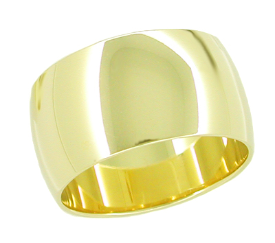 Women's 10mm Wide Wedding Band Ring in 14 Karat Yellow Gold
