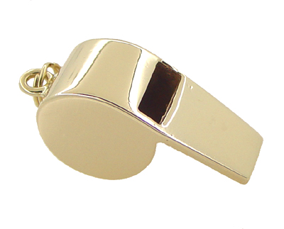 Working Whistle Charm Pendant in 14 Karat Yellow Gold