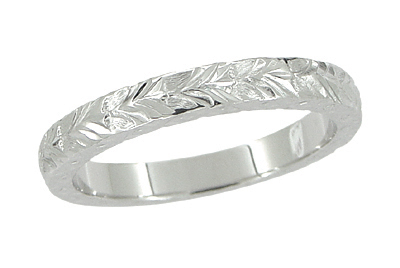 X and O Kisses Wheat Wedding Band in 14 Karat White Gold