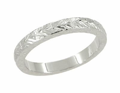 X and O Kisses Wheat Wedding Band in 14 Karat White Gold - Item R802 - Image 1