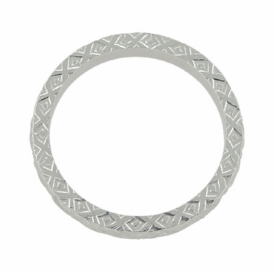 X and O Kisses Wheat Wedding Band in 14 Karat White Gold - Item R802 - Image 2