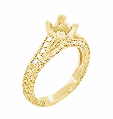 X & O Kisses 1/2 Carat Diamond Engagement Ring Setting in 18 Karat Yellow Gold - Item R1153Y50 - Image 1