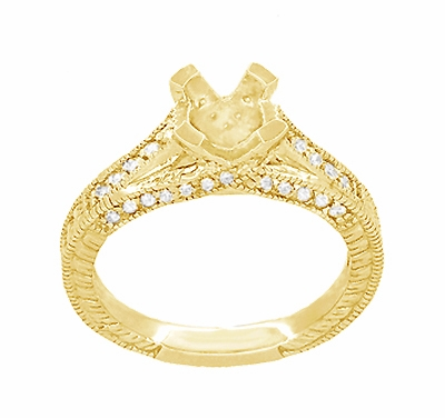 X & O Kisses 1/2 Carat Diamond Engagement Ring Setting in 18 Karat Yellow Gold - Item R1153Y50 - Image 3