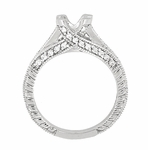 X & O Kisses 1/2 Carat Diamond Engagement Ring Setting in Platinum
