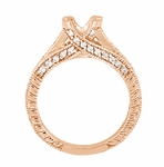 X & O Kisses 1 Carat Diamond Engagement Ring Setting in 14 Karat Rose Gold