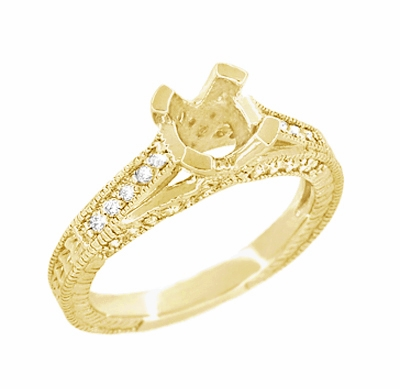 X & O Kisses 1 Carat Diamond Engagement Ring Setting in 18 Karat Yellow Gold - Item R1153Y1 - Image 2