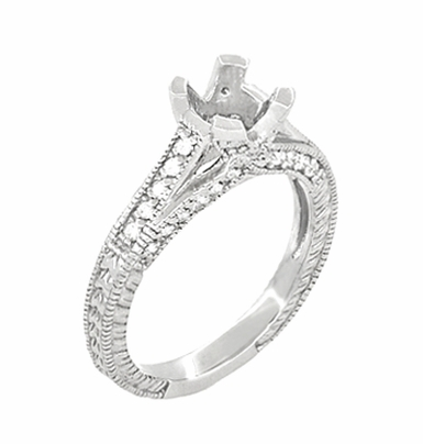X & O Kisses 1 Carat Diamond Engagement Ring Setting in Platinum - Item R1153P1 - Image 1