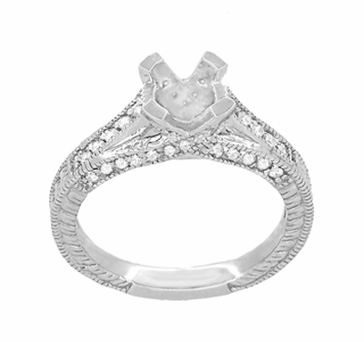 X & O Kisses 1 Carat Diamond Engagement Ring Setting in Platinum - Item R1153P1 - Image 3