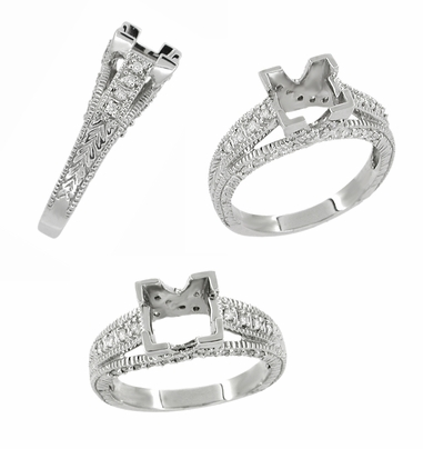 X & O Kisses 1 Carat Princess Cut Diamond Engagement Ring Setting in 18 Karat White Gold - Item R701 - Image 1