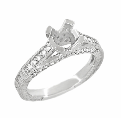 X & O Kisses 3/4 Carat Diamond Engagement Ring Setting in 18 Karat White Gold - Item R1153W75 - Image 2