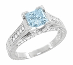 X & O Kisses 3/4 Carat Princess Cut Aquamarine Engagement Ring in 18 Karat White Gold