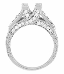 X & O Kisses 3/4 Carat Princess Cut Diamond Engagement Ring Setting in Platinum