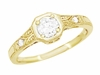 18K Yellow Gold 1930s Art Deco Filigree Low Profile Diamond Engagement Ring