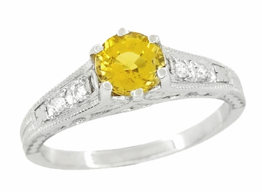 Yellow Sapphire and Diamond Filigree Engagement Ring in 14 Karat White Gold - Item R158YES - Image 1