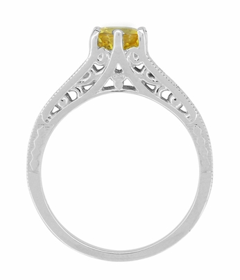 Yellow Sapphire and Diamond Filigree Engagement Ring in 14 Karat White Gold - Item R158YES - Image 2
