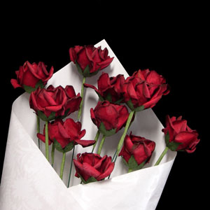 1st Anniversary Paper Roses (deep red)