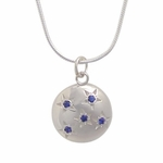 5 Sapphire Starry Sky Pendant and Chain (Sterling Silver) - New!