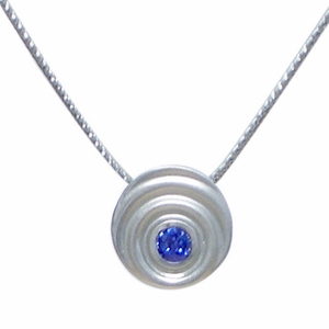 Blue Sapphire Droplet Necklace (Sterling Silver)