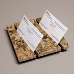 Double Business Card Holder in Natural Stone (burnt sienna granite)