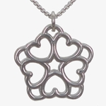 Five Heart Rosette Necklace (sterling silver) in Wood Box